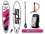 """SPS EVO 10'x30""""x4"""" Rosa Tabla Paddle Surf Hinchable FSLU Allround Pack Completo + Remo de Fibra Plus + Mochila con Ruedas"""