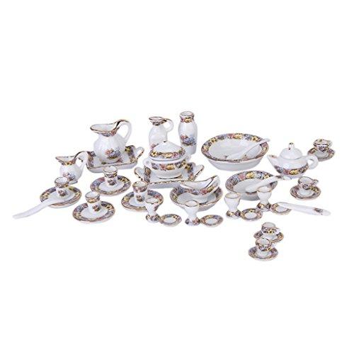 P Prettyia 40-teilig 1/12 Puppenhaus Küche Porzellan Geschirr Zubehör - Miniatur Teekanne, Tassen, Kaffeetassen, Becher, Schüsseln, Löffel, Spatel usw.