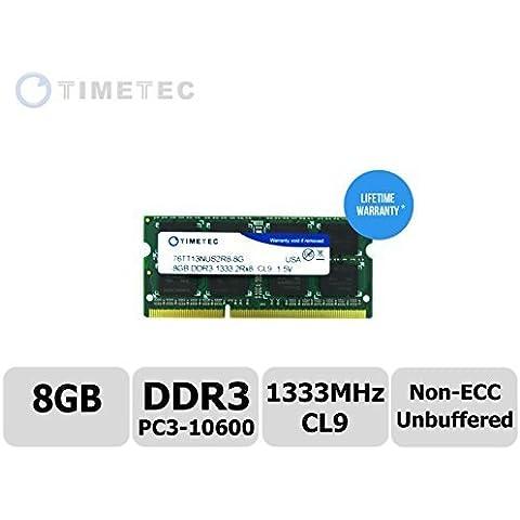 Timetec® (P/N 76tt13nus2r8 - 8 G) Dual Rank, 1333 MHz DDR3 (PC3 - 10600) Non-ECC sin búfer CL9 204 pin SODIMM 2Rx8 512 x 8 1,5 V Windows PC portátil portátil módulo de memoria RAM