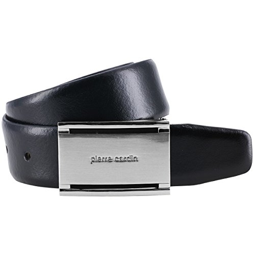Pierre Cardin leather belt men / belt men, leather belt curved with plate buckle, black, Size:100
