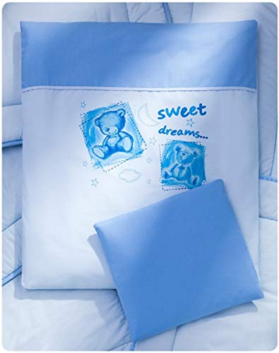 Sweet Dreams 4tlg.Kinderwagenset Garnitur Bettwäsche 70x55 Decke (Blau Sweet Dreams)