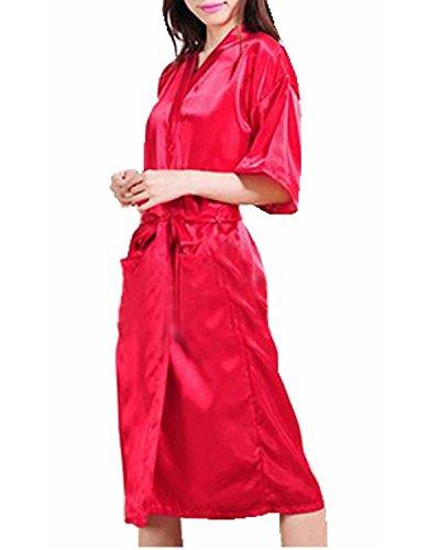 ZANZEA Femme Sexy Kimono Nuisette Lingerie Nuit Grand Taille Peignoir Robe Rouge