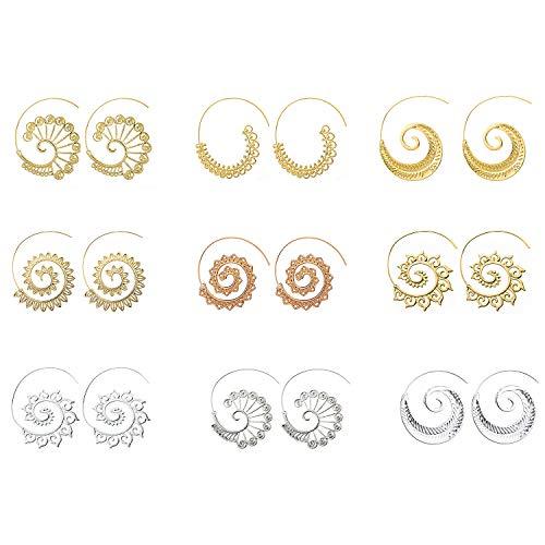 Boho schmuck, Comius 9 Pairs Spirale Ohrringe, Böhmische Vintage Tribal Swirl Spirale Creolen Set für Frauen (Golden + Silber) (Gold Ohrringe Aus Indien)