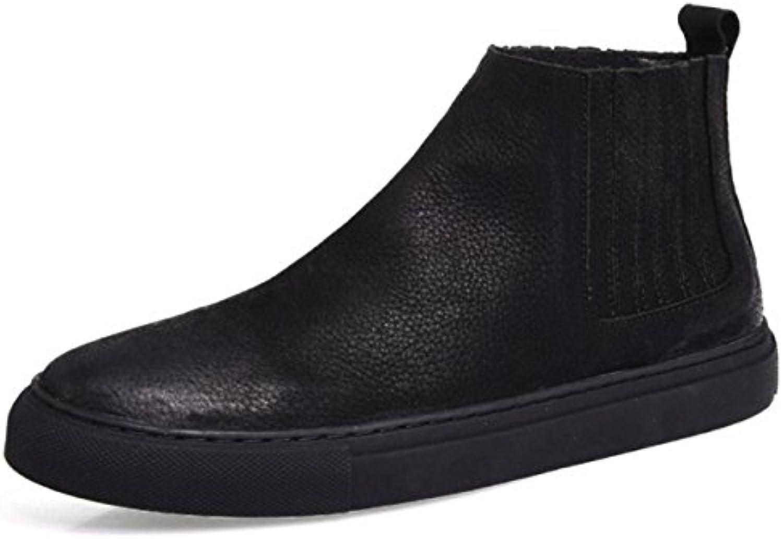 Winter Martin Botas Zapatos Altos Coreanos De Los Hombres De Cuero Cálidas Botas Cortas Británicas Retro  -