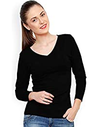 Trends Tower Women Full Sleeve V-Neck Black Color