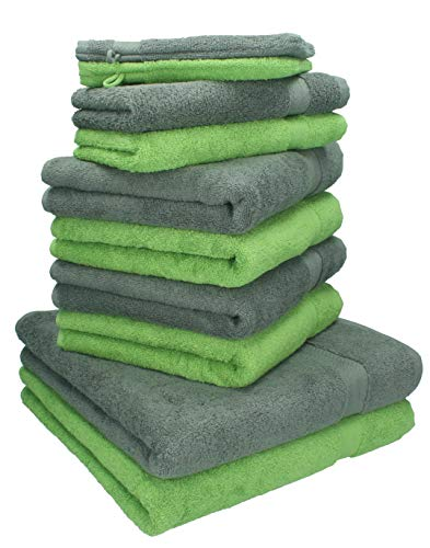 Betz 10-TLG. Handtuch-Set Premium 100% Baumwolle 2 Duschtücher 4 Handtücher 2 Gästetücher 2 Waschhandschuhe Farbe Anthrazit Grau & Apfel Grün