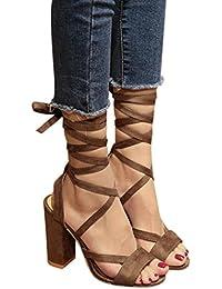 Liquidación Sandalias para mujer Covermason Sandalias para mujer de moda Tobillo Tacones altos Fiesta de bloque Zapatos de punta abierta(34 EU, Caqui)