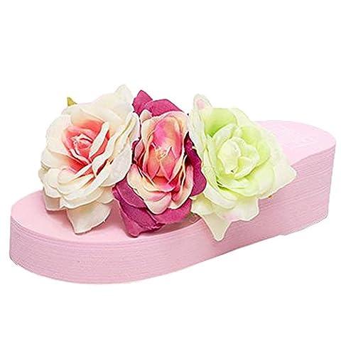 Scothen Toe Post Sandals for Women's Blumen Strand Schuhe Flip Flops mit Hausschuhen Urlaub Sandale Sommer Slip Schuhe Roman sandals Damenschuhe Knöchelriemchen Sandaletten (T-post Clips)