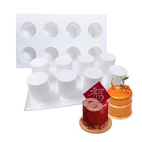 MINIZ Stampi Silicone, 3D Stampo in Silicone con 8 Cavità, Decorazione per Torta al Cioccolato, Muffin, Bigné, Pudding, Caramelle e Cubi di Ghiaccio, Colore Bianco (2 Pezzi),2PACK