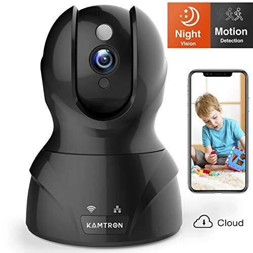 WLAN IP Kamera,KAMTRON HD WiFi Überwachungskamera,mit 350°/100°Schwenkbar,Home und Baby Monitor mit Bewegungserkennung, Zwei-Wege-Audio, Nachtsicht, unterstützt Fernalarm und Mobile App Kontrolle - High-definition-video-kabel