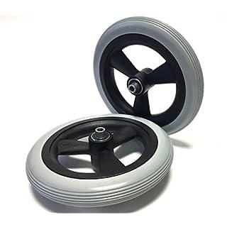 2 Stück Rollstuhlreifen pannensicher 8 x 1 1/4 oder (200x30), grau, Rillenprofil, 100% pannengeschützt, Kompletträder Reifen mit Felge und Rollstuhl Kugellager, Bohrung 8 mm, Nabenlänge 60 mm