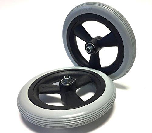 2PZ Sedia a rotelle pneumatici Anti-foratura 8X 11/4o (200X 30), Grau, scanalature, 100% pannengeschuetzt, completo ruote pneumatici con cerchione e disabili con cuscinetti a sfera, foro 8mm Mozzo, lunghezza 60mm