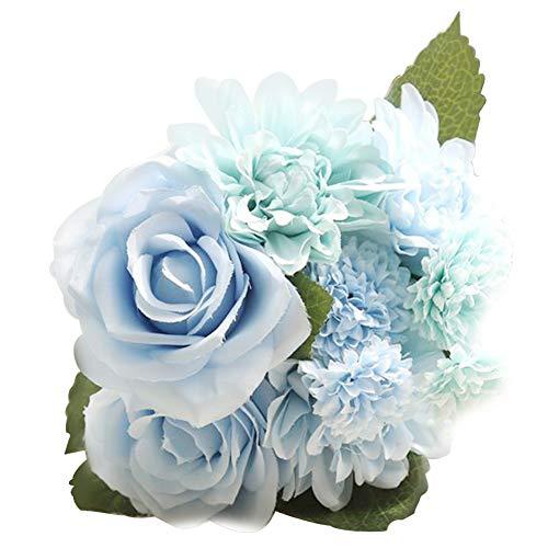 Alimagic Künstliche Blumen, 1 Strauß künstliche Rose Seidenblumen Gänseblümchen Dahlie Blumen für Familie Braut Hochzeit Party Feiertag Dekoration (Tiffany-Blau) (Dekoration Tiffany Blau Party)