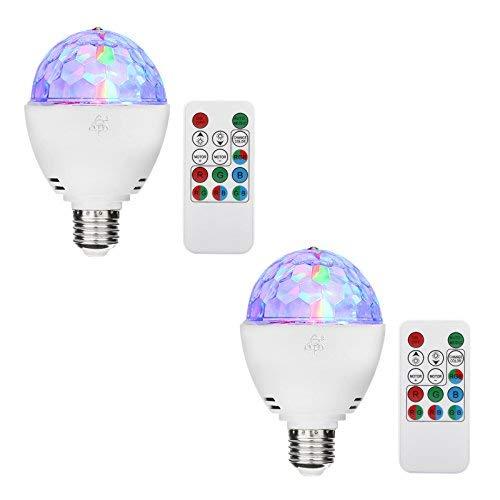 TSSS® E27 RGB LED Mini Ball Drehender Kristall Bühnenlicht Disco Hause Familie Partei Club Bar DJ Pub Hochzeit Fernbedienung Birne Glühlampen (2 Stücke) -