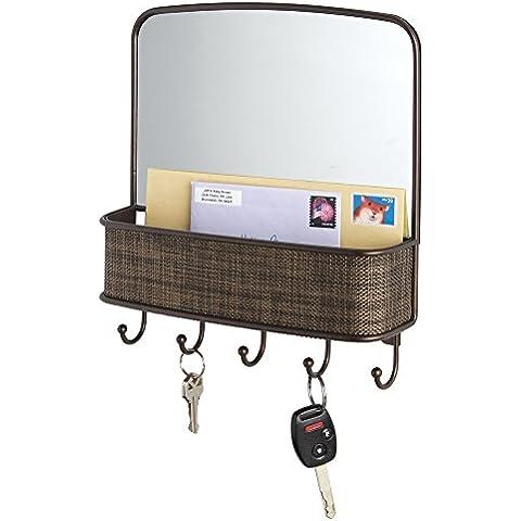 mdesign Post estante con llave Tabla y espejo para cocina, rango de entrada, Piso–wandmontiert, bronce Colores