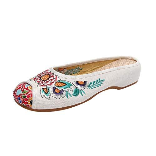 Reasoncool Sandalen Frauen Tuch Schuhe Sandalen National Bestickten Sehnen Sohlen Blumen Hausschuhe
