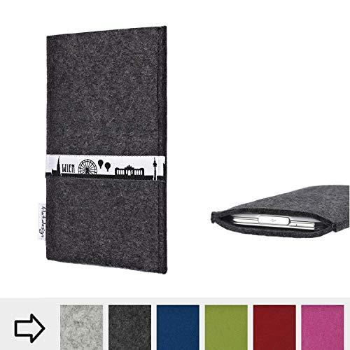 flat.design für Archos Core 55P Schutztasche Handy Hülle Skyline mit Webband Wien - Maßanfertigung der Schutzhülle Handy Tasche aus 100% Wollfilz (anthrazit) für Archos Core 55P