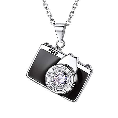 SILVERCUTE Damen Frauen Collier 925er Silber schwarzen Emaille Kamera Anhänger Halskette 51cm 1,5mm Collier trendig Schmuck für Mädchen Geburtstag Weihnachten Geschenk