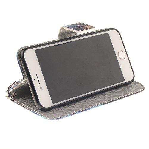 iPhone 7 iPhone 8 4.7 Cover,MAGQI Custodia Wallet in Pelle Alta Qualità Sottile PU Copertura del Portafoglio Folio Skin Protettivo Conchiglia Case per iPhone 7 / 8 - Mandala Colorato Pittura del gufo di olio