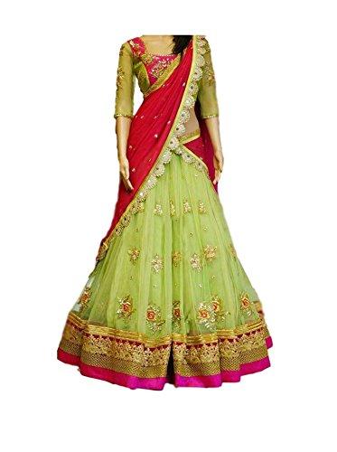 Granthi Creation Women's Net Semi-Stitched Lehenga Choli (Green_Free Size)