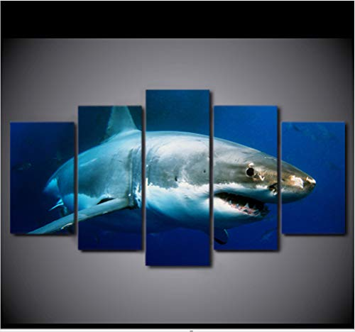 dsfytrew Kein Rahmen Wall Art Poster Home Decor Modern 5 Panel Blue Ocean White Shark Living Room Canvas Hd Print Modular Pictures Painting