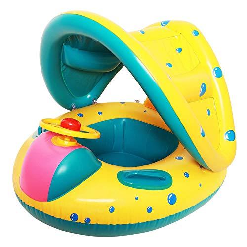 Xpddy Flotador para bebé con Asiento,Respaldo,Techo del Sol,Barca bebé de Piscina para...