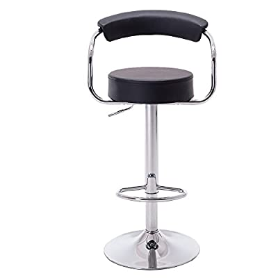 Hollylife 2 x Breakfast Swivel Bar Stools Kitchen Faux Leather Chair Height Adjustable 57 to 75 cm - low-cost UK light store.