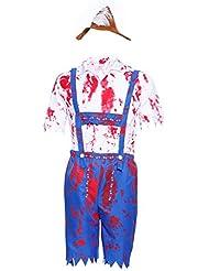 Herren Zombie BAYERISCH KOSTÜM Karneval Oktoberfest Halloween Trachthose Trachtenset Horror Vampier Outfit Gr.M
