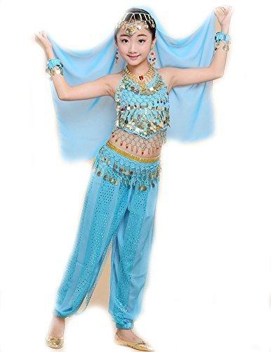 EULAGPRE 1set Mädchen Bauchtanz Kostüm Kind Kinder Bellydancer Indische Kleidung (Kostüme Indische Kinder)
