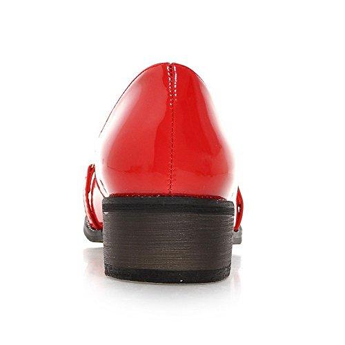 VogueZone009 Donna Scarpe A Punta Tacco Basso Pelle Di Maiale Puro Tirare Ballerine Rosso