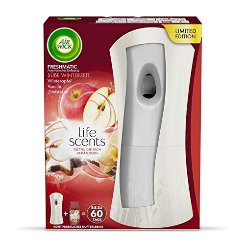 Air Wick Freshmatic Max Starter-Set Süße Winterzeit, automatisches Duftspray, Freshmatic Gerät automatischer Lufterfrischer + 1 Spray Raumduft mit Apfel, Zimt und Vanille