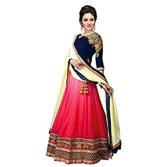 Princes Fashion® Women's Georgette Heavy Embroidery Work Semi-stitched Lehenga Choli With Full Duppta
