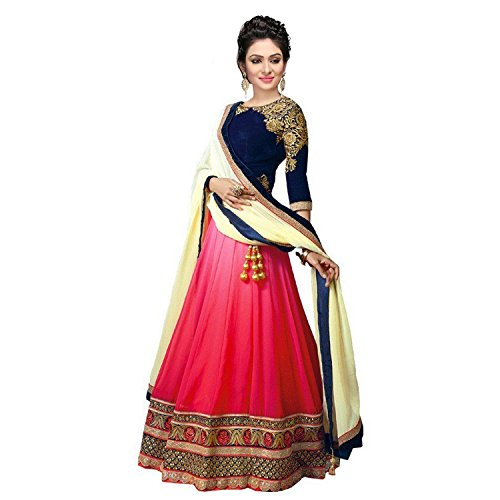 Princes Fashion® Women\'s Georgette Heavy Embroidery Work Semi-stitched Lehenga Choli With Full Duppta