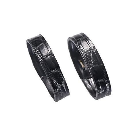 2 pièces larges en cuir d'alligator de remplacements de support de bande de montre boucle de boucle 23mm de luxe avec grains ronds en noir