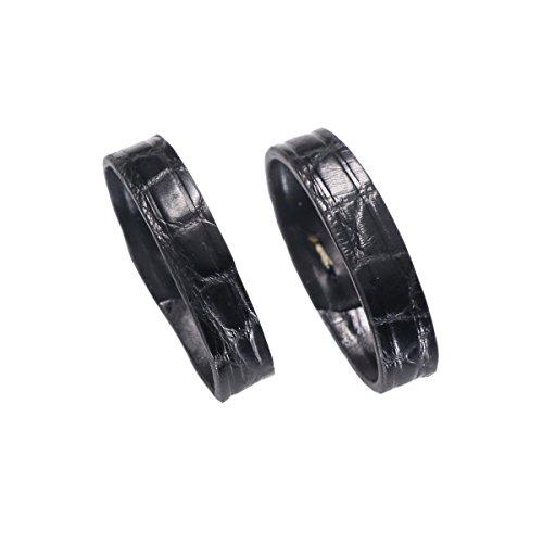 2 pezzi coccodrillo nero di vigilanza di cuoio della pelle del cinturino cerchio fibbia con scale circolari per cinghia 16 millimetri di larghezza