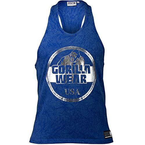 Gorilla Wear Mill Valley Tank Top - Fitness Stringer Herren Bodybuilding Gym Blau XXXL