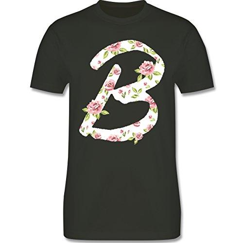 Anfangsbuchstaben - B Rosen - Herren Premium T-Shirt Army Grün