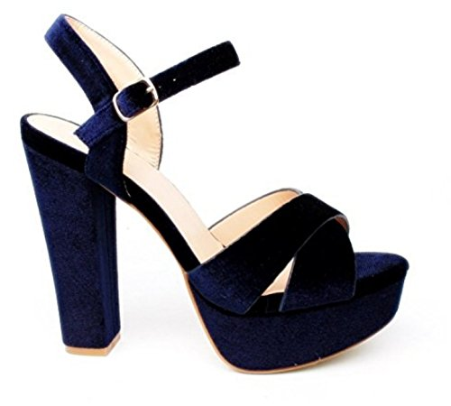 Damen Riemchen Abend Sandaletten High Heels Pumps Slingbacks Velours Peep Toes Party Schuhe Bequem 07 (37, Blau)