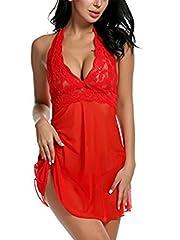 Idea Regalo - Kinikiss Donna Babydoll sottoveste Lingerie Sexy Lace Donne floreale Intimo Breve Notte, Abito da Notte.…