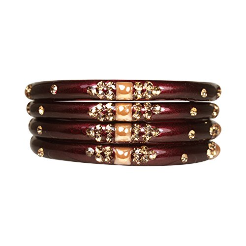 Manihaar Designer Golden Stones Clinged Maroon Set of four glass bangles for Girls and Women