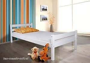 tagesbett bett helga kiefer massiv weiss lackiert 90x200 cm inkl rollrost k che. Black Bedroom Furniture Sets. Home Design Ideas