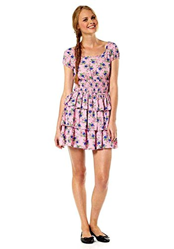 ONLY Damen-Kleid Volantkleid Mehrfarbig (L) (L, rosé-bunt)