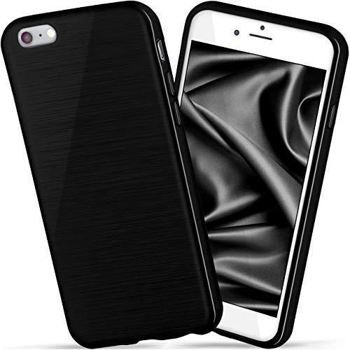moex iPhone 6S   Hülle Silikon Schwarz Brushed Back-Cover TPU Schutzhülle Ultra-Slim Handyhülle für iPhone 6/6S Case Dünn Silikonhülle Rückseite Tasche