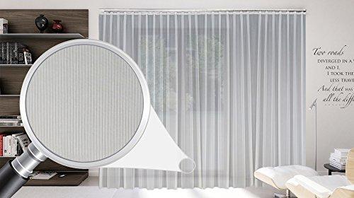 """SUNWORLD Maßgeschneiderte weiße Voile Store Gardine """"Stripe"""" inklusive Blei und Automatik Faltenband 1:2,5, 3er Falte, Vorhang nach Maß, Höhe 90 – 295 cm(175 x 350 cm/HxB)"""