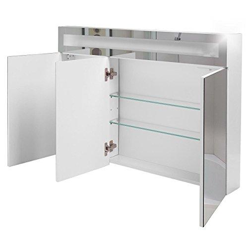 Badspiegelschrank beleuchtet BF01W90, 3-türig, 90x65x15cm, Weiss, inkl. Leuchtmittel - 2