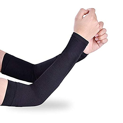 UVA Arm Sleeves Gloves for Men and Women (Black, Free Size) -Set of 2 Pcs