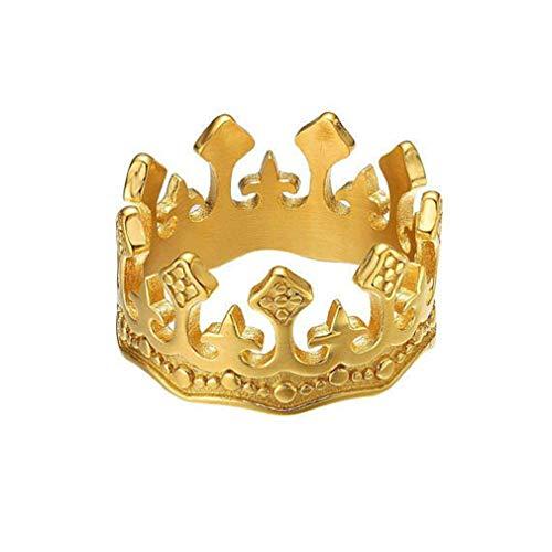 (Kingus Vintage Kristall Hochzeit Krone Band Ring Edelstahl Mens Womens Paar Ring Liebhaber Romantische Schmuck, Golden männlich Kreuz 8)
