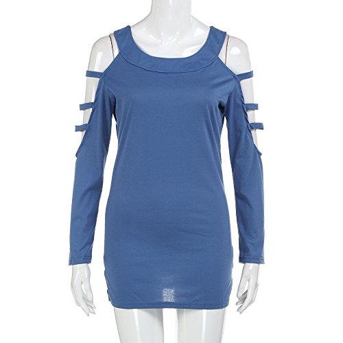 BakeLIN Pullover Damen Frühling Herbst Lose Mode Einfarbig Trägerlos Rundhalsausschnitt Lässige Langarmshirt Bluse Tops Hemd Sweater Outerwear Sweatshirts (S~XXL) (Blau, L) (L/s Shirt Plaid Blau)