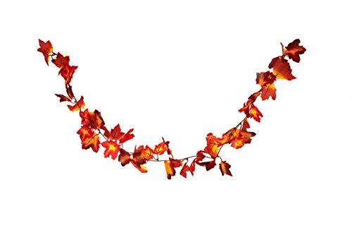 -Girlande mit Ahorn-Blättern in rot/orange - Deko-Girlande mit Herbst-Laub - Kunststoff-Blätter ()