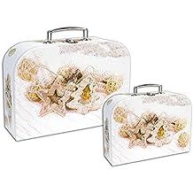 Vetrineinrete® Set 2 bauli scatola matrioska per confezionare i regali in cartone con decorazioni natalizie chiusura a scatto e manico argento 2 misure contenitore confezione idea regalo (Decorazioni natalizie)